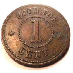 1863 Civil War Token - T. Ivory Billiards Salloon, Brooklyn, NY