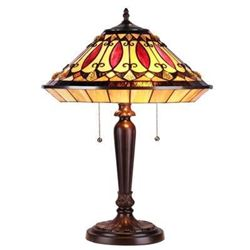 """MADELINE"" Tiffany-style 2 Light Mission Table Lamp 16"" Shade"