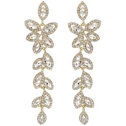 18K Gold Plated Clear Crystal Rhinestone Drop Dangle Earrings