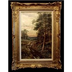 Signed Early 20thc Oil Painting, British Sunset Landscape