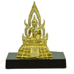 "Gold & Silver Plated Thai Buddha Bronze Sculpture 5"" x 4.5"""
