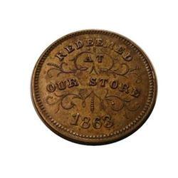 1863 Civil War Token - Robinson & Ballou Grocers, Troy, NY
