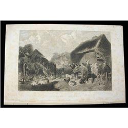 c1850 Steel Engraving, Barnyard Animals