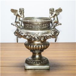 Antique Silver Cherub Urn With Lion Handles C. 19th Century