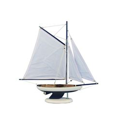 Wooden Bermuda Sloop Dark Blue - White Sails Model Sailboat Decoration 17""