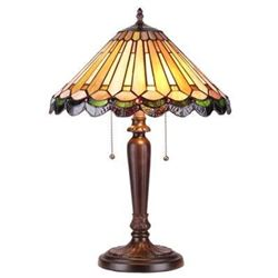 """INEZ"" Tiffany-style 2 Light Mission Table Lamp 16"" Shade"
