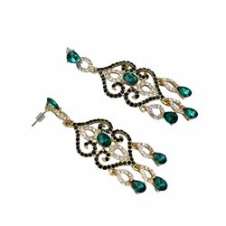 18k Gold Plated Gp Green Crystal Rhinestone Chandelier Drop Dangle Earrings