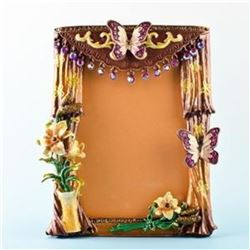 "5.5"" x 4.5"" Curtains with Butterfly and Flowers Russian Antique Style Faberge Picture Frame"