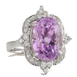11.65ct. Pink Kunzite and Diamond 14kt White Gold dinner ring.