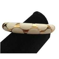 Hinged White Enamel Goldtone Bangle Bracelet