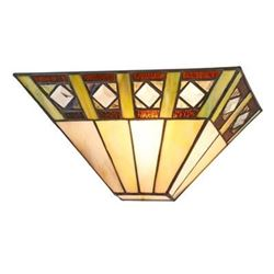 """GILES Tiffany-style 1 Light Mission Indoor Wall Sconce 12"""" Wide"""