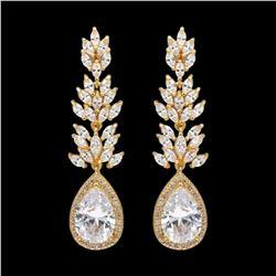 18K Gold Plated GP Cubic Zirconia CZ Wedding Bridal Drop Dangle Earrings