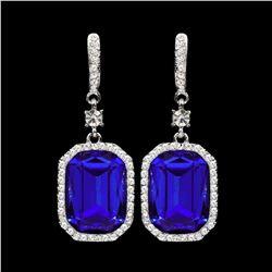 Rhodium Plated Blue Crystal Rhinestone Wedding Drop Dangle Earrings