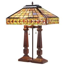 """""""SHERWIN"""" Tiffany-style 2 Light Mission Table Lamp 16"""" Shade"""