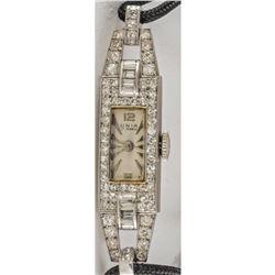 Platinum Vintage Diamond Ladies Wristwatch With Two Carats Diamonds