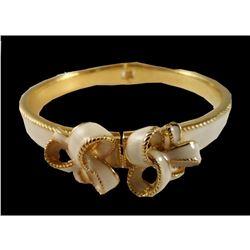 Cream Enamel Hinged Bangle Bracelet with Decorative Bows