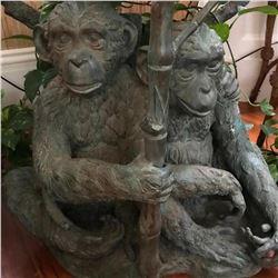 Large Bronze Monkeys Chimpanzees Table