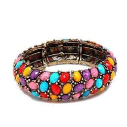 Multi-Color Easter Egg Bead Hinge Cuff Bangle Bracelet