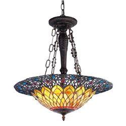Tiffany-style Inverted Ceiling Pendant