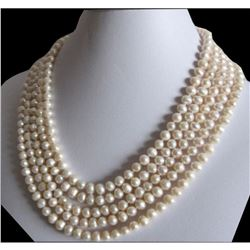 """Beautiful 100"""" 7-8mm White Freshwater Cultured Pearl Necklace"""