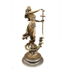 Original Justice Lady Bronze Marble Statue Nude Female