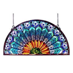 Tiffany-style Peacock Feather Glass Window Panel 35x18