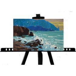 21st Century Signed Ukranian Impressionism, Rocky Coastline Sunset Oil Painting