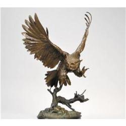 Owl w/Gold Beak & Talons By J. Moigniez