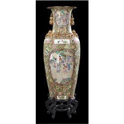 Large Oriental Famille Rose Baluster Palace Vase, 20th