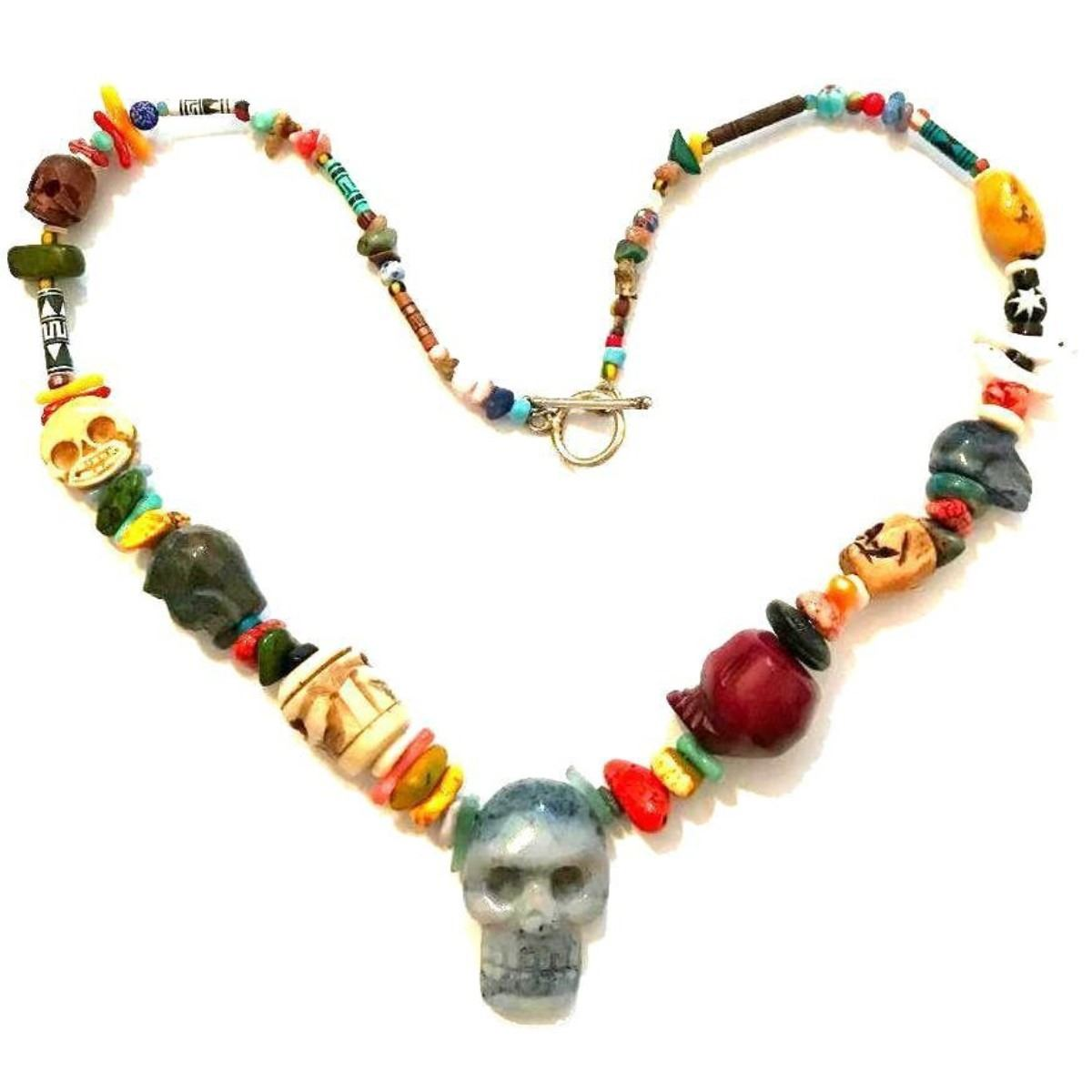 Hand Carved Artisan Skull Beads Necklace