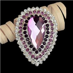 Amethyst Teardrop Auystrian Crystal Brooch Pin