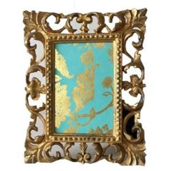 Vintage Gold Ornate Florentine 4� x 6� Picture Frame, Made in Italy, Easel Frame, Hollywood Rege