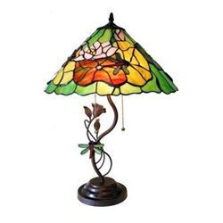 """Tiffany-style 2 Light 3D Florals Table Lamp 17"""" Shade"""