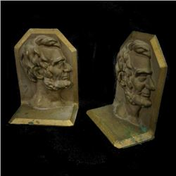 Rare Abraham Lincoln Antique Heavy Solid Bronze Pair President Book Ends Vintage