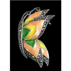 Marcasite Sterling & Enamel Butterfly Pin