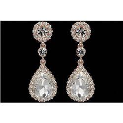 ROSE GOLD Plated Clear Crystal Rhinestone Wedding Drop Dangle Earrings
