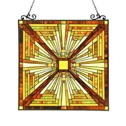 """INNES"" Tiffany-style Mission Glass Window Panel 24.5x26"