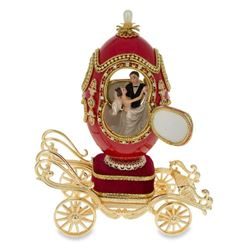 """Faberge Inspired 7.1"""" Royal Wedding Coach Royal Inspired Russian Egg with Music Box"""