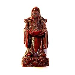 Vintage Chinese Oxblood Resin Statue Figure, Sanxing, Lu Xing