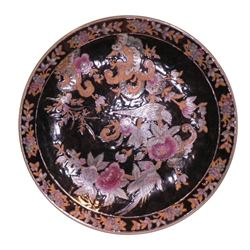 """Vintage Oriental Charger Birds Flowers Vines black gold painted highlight 12.5"""""""