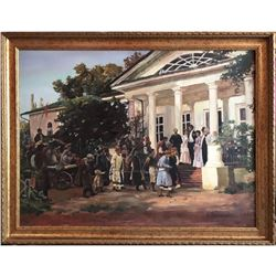 Large late 20thc Russian School, Wedding Party Oil Painting