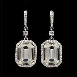 Rhodium Plated Clear Crystal Rhinestone Wedding Drop Dangle Earrings