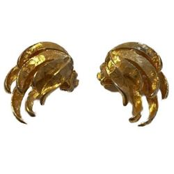 Vintage Mid Century Gold Angel Wing Clip On Earrings