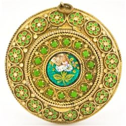 French Enamel Floral Mirror Box Pendant