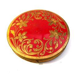 Vintage Art Nouveau Floral Enamel Repousee Powder Compact
