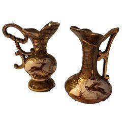 Vintage Art Deco Belgium Deer Pottery Ewers Pitchers