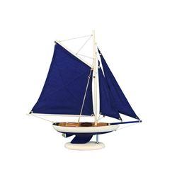 "Wooden Bermuda Sloop Dark Blue Model Sailboat Decoration 17"""
