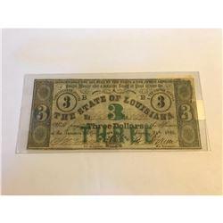 SCARCE! Louisiana $3 Confederate States Bill