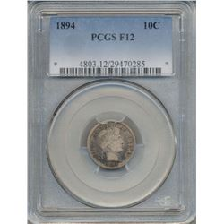 1894 Barber Dime Coin PCGS F12