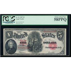 1907 $5 Legal Tender Note PCGS 58PPQ